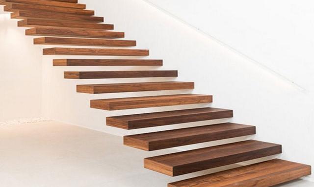 escalier suspendu bois